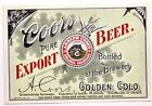 Vintage Pre-Pro Coors Pure Export Beer Label 12oz A. Coors Golden CO