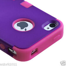 APPLE iPHONE 4 4S MULTI-LAYER HYBRID CASE COVER SKIN ACCESSORY PURPLE/HOT PINK
