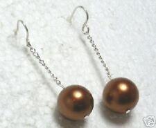 Sterling Silver Copper South Sea Shell Pearl Dangle Earrings