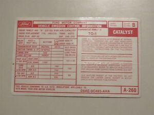1978 Ford Lincoln Mercury 460 Motor Emissionen Sticker D8AE-9C485-AHA Neu