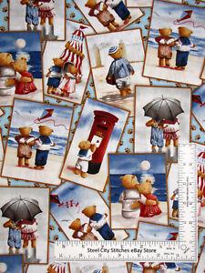 Beach Theme Fabric Teddy Bears Ocean Friend Cotton Elizabeths Studio By The Yard