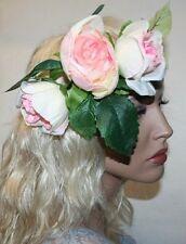 Wedding Garden Rose Flowers Headband, Flower Headband, Boho Style Crown