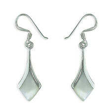 SILVER  Diamond shaped Mother of Pearl EARRINGS ART DECO  925 STERLING SILVER