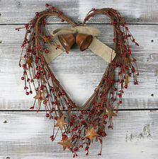 Heart Wreath with Pip Berries and Stars 17 inch Olivias Heartland Country Decor