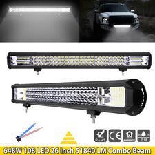 26 Inch 648W 108 LED Work Light Bar 6D Spot Flood Combo Beam Offroad Driving SUV