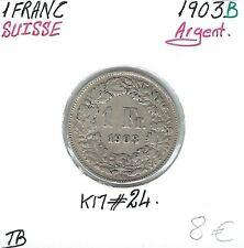 SUISSE - 1 FRANC - 1903 B - Pièce de Monnaie en Argent // Qualité: TB