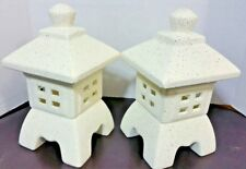 "2 Lot 10"" Beige Pagoda Lantern Statues Stone Ceramic Garden Table Art Yard Decor"