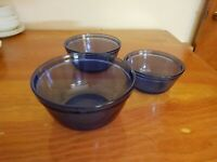 Anchor Hocking Cobalt Blue Mixing Nesting Bowls Set Of 3 - 1.5, 2.5, 4.0 qt size