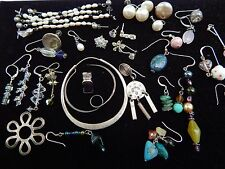 Vintage ALL Sterling Silver SINGLE EARRINGS Craft Jewelry South Western Lot