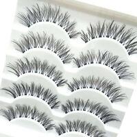 5 Pairs Long Cross False Eyelashes Makeup Natural Fake Thick Eye Lashes Black