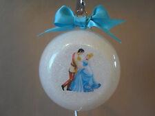 "Handmade Disney Princess Cinderella & Prince Charming 3"" Glass Ball Ornament~NEW"