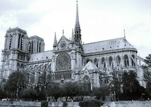 Stunning Black & White A4 Print of Notre Dame Cathedral, Paris, France 20P