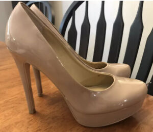 Chinese Laundry Tan Nude Patent Pump Heels - Size 7