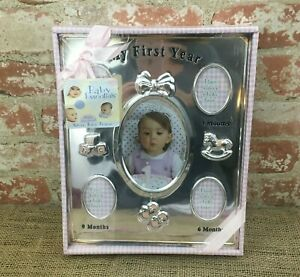 NEW sealed Baby Essentials My 1st year Watch me grow silver tone Baby Frame