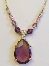 Beautiful Vintage Swarovski Purple Crystal Rhinestone Pendant Ornate Chain,mark