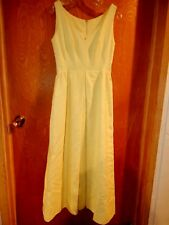 Vntg 1960 PERFECT SPRING yellow heavy cotton pique Sleeveless Long Dress ex cond