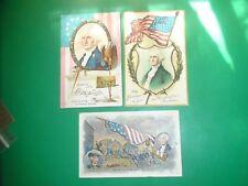 Jb481 Vintage Lot of 3 Patriotic Flags George Washington Postcards