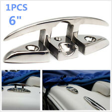 """1PC 6"""" Flush Mount 316 Stainless Steel Flip / Pull Up Boat Cleat Dock Cleat Firm"""