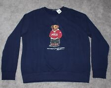 Polo Ralph Lauren Bear Navy Blue Fleece Sweatshirt Limited Edition Size M F1c