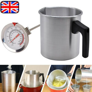 Wax Melting Pot Pouring Pitcher Jug Aluminium Candle Soap Make Thermometer 1.2L