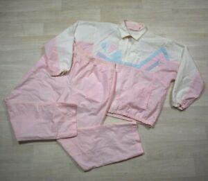Vintage 80s Goola Gong Track Suit 2 Piece Set Pants Jacket Size Large Pastel