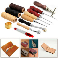 14Pcs Leather Craft Hand Stitching Sewing Tool Kit Awl Waxed Thimble Needle