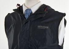 Vintage Mens POLO SPORT RALPH LAUREN Coat M in Char Black Nylon Hooded Full-Zip