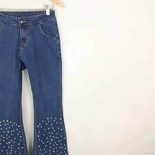 womens medium Bell Bottom Flare Jeans Pearl Embellished Studded