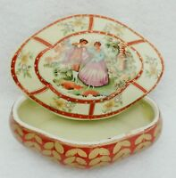 Vintage Porcelain Courting Couple Portrait Dresser Trinket Jewelry Box #5307
