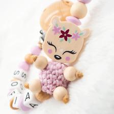 Schnullerkette mit Namen Mädchen Reh Doppelnamen ?rosa Holz Natur Baby Geburt