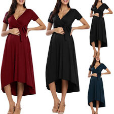 Women Lrregularity Bandage Solid V-Neck Maternity Pregnanty Short Sleeve Dress