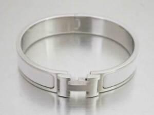 Auth HERMES Clic Clac Bangle Bracelet White/Silvertone Enamel/Metal - e47227a