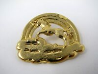 Vintage Collectible Pin: Rainbow Unicorn Cloud Great Gold Tone Design