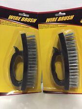 "2 Of 6.5"" inch Heavy Duty Steel Wire Brush Plastic Grip (Black)"