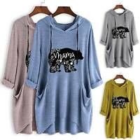 Womens Casual Hooded Long Sleeve Tunic Top Sweatshirt Oversized Hoodie Plus Size