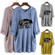 Women Hooded Jumper Knit Sweatshirt Hoodie Pullover Baggy Long Sleeve Plus Size