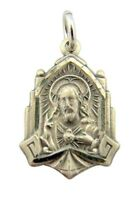 Sterling Silver Cathedral Scapular Medal with Our Lady of Mt Carmel Back 3/4""