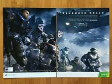 Halo Reach Xbox 360 2010 Vintage 2-Pg Poster Ad Art Master Chief Noble Team Rare