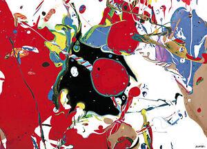MODERN PAINTING # LARGE CANVAS XXL  RED BLACK ART BIG INTERIOR DESIGN * 71 x 55