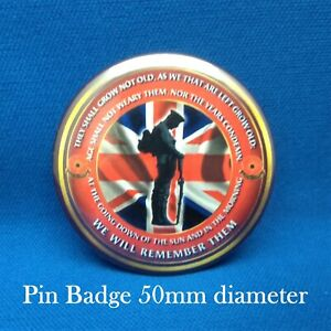 Armed forces Army Navy RAF Remembrance Lest we forget 50mm pin badges. FREE P&P