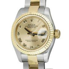 ROLEX Ladies 18kt Gold & SS DateJust Champagne Roman Dial - 179173 SANT BLANC