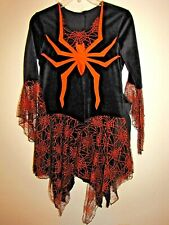 Womens Unbranded Witch Costume Halloween Party Black W/ Orange Spider Web Net