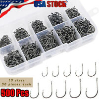 500pcs Fish Hooks 10 Sizes Fishing Black Silver Sharpened With Box Carbon Steel