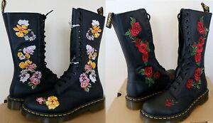 Dr. Martens 1914 Vonda Floral Embroidered 14 Eye Zip Boots