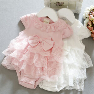 baby infant girl clothes cotton bodysuit baby party lace layered dress bodysuit