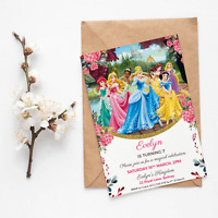 Printable Disney Princess Personalised Floral Birthday Invitation 7 Designs