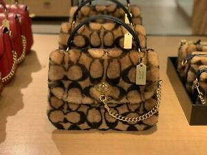 NWT Coach X Jennifer Lopez Marlie Top Handle Satchel In Signature Shearling