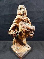 Vintage Paper Mache Figurine Sculpture Mexico Mexican Folk Art - Woman Fish