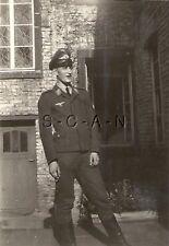 WWII Original German Luftwaffe Photo- Formal Hat- Uniform- Smokes Cigarette