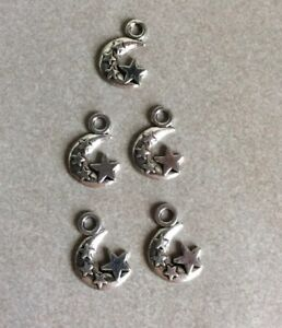 Antique Silver, Moon with Stars, 20x12mm,5pcs, Diy Jewellery Making, Charms